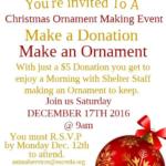 Make a Donation, Make an Ornament flyer.