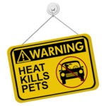 Photo of a sign reading Warning, Heat kills pets