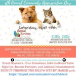 Community Appreciation Day flyerfeaturing a dog and cat graphic.