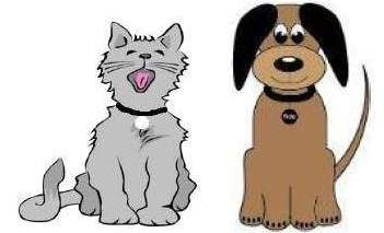 Cartoon illustration of gray cat and brown dog.