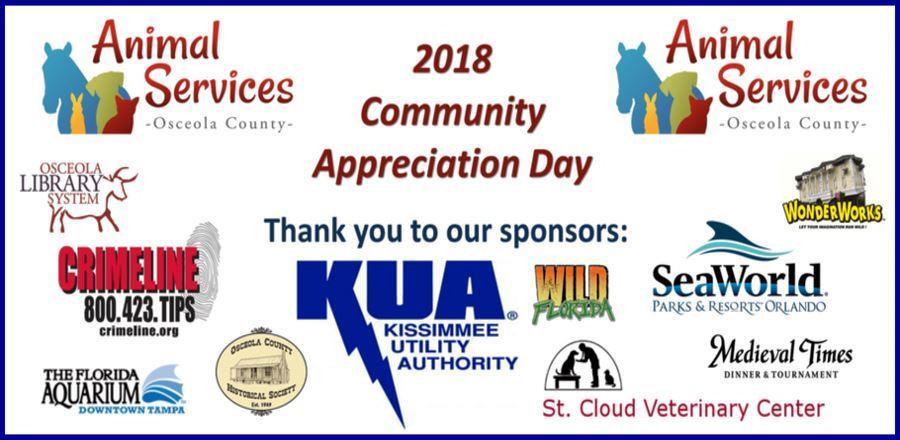 Community Appreciation Day list of sponsors.