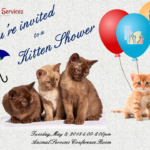 Kitten shower flyer page 1 featuring four kittens with balloons.