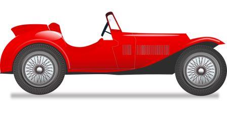 Illustration of red sports car.