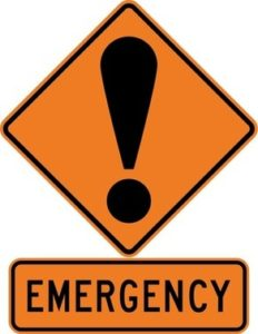 Illustration of caution sign with that reads emergency with an an !.