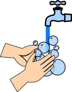 Cartoon image of hands being washed.