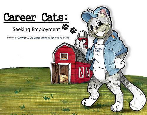 Career Cats Seeking Employment flyer, drawing of cat and barn