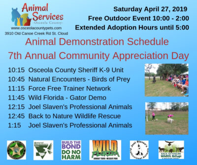 Animal Demonstration Schedule for our 7th Annual Community Appreciation Day-1