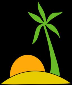 Cartoon beach, palm tree and sunset