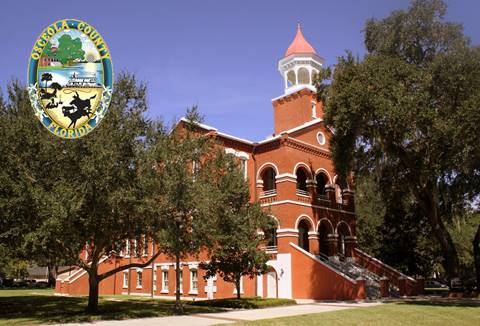Historic Osceola County courthouse and county logo
