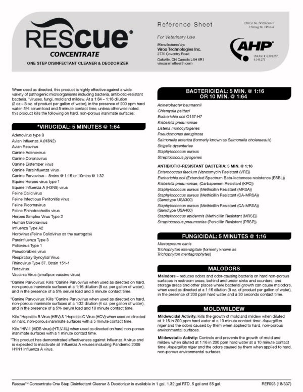 Rescue disinfectant instructions page 1
