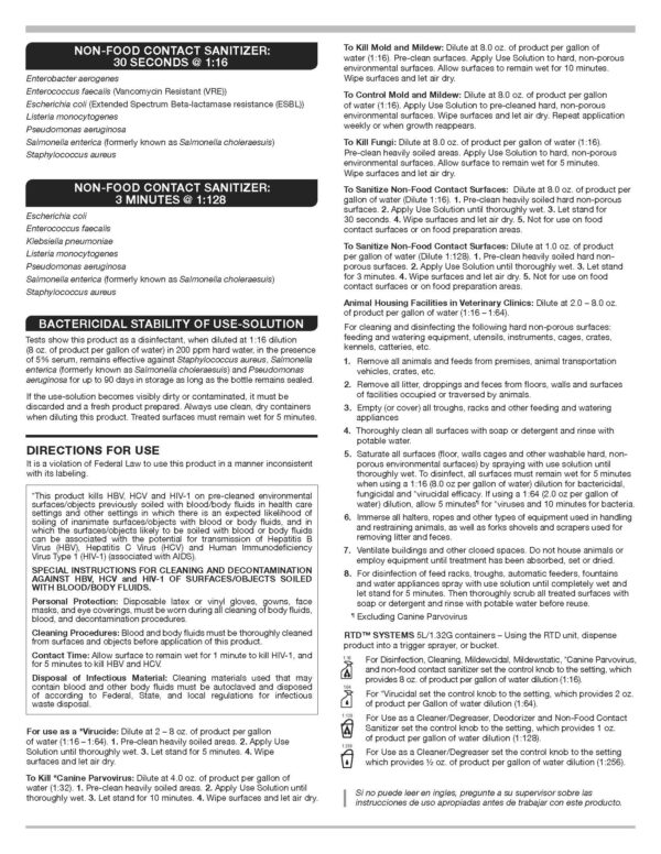 Rescue disinfectant instructions page 2