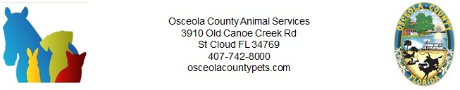 Animal Services and Osceola County logos with address