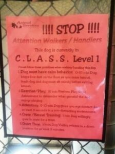 CLASS dog cage sign