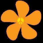 Cartoon orange 70's flower
