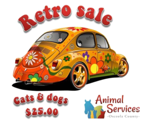 Retro Sale logo with old VW Beatle and OCAS logo